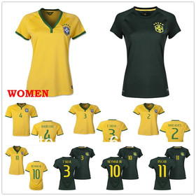 2014 world cup Brazil home women soccer football jersey NEYMAR JR OSCAR best thai quality woman soccer uniforms jerseys
