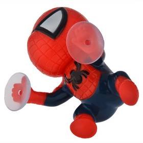 360-degree Rotating Cute 16cm Climbing Spiderman Sucker Doll Toy Auto Car Sticker Decoration Black/Red