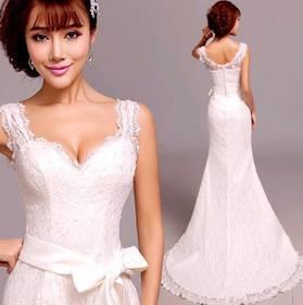 Princess sexy mermaid Wedding Dresses 2015 plus size v-neck lace Wedding Dress belt 963