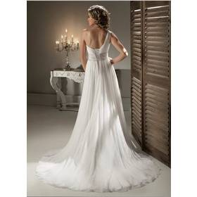 Cheap Price ! 2014 New Free Shipping Beading Crystals One Shoulder White / Ivory Wedding Dresses OW 2042 In Stock