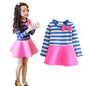 girl dress kids clothes 2015 new fashion high quality cotton spring children clothing long-sleeve girls dress