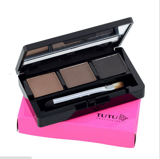 Professional 3 colour EYEBROW Powder/Shadow Palette With Double Ended Brush Make Up Eyebrow