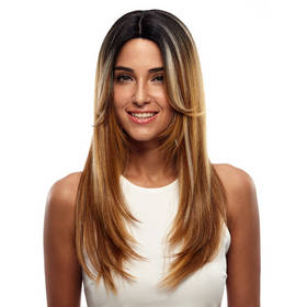 Rebecca Ombre Blonde Synthetic Straight Hair Lace Front Wig 24 Inch