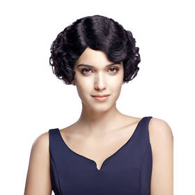 Rebecca Short Wavy Remy Human Hair Curly Retro Wave 9 Inch Wig