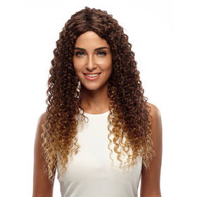 Rebecca Ombre Synthetic Hair Kinky Curly Natural Long Wig 26 Inch