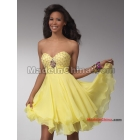 A-line strapless yellow chiffon cocktail dress/evening dress/wedding dress/flirt dress/dinner jacket/formal dress/Party dress free shipping