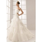 Wholesale free shipping custom-mad custom-mad 2012 high- strapless Chapel train organza Tiered bride wedding dress