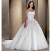 Ball Gown Strapless Cathedral train Organza wedding dress for brides 2010 style(WDA0075