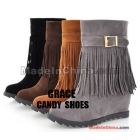 Free shipping- 2012 qiu dong tassel women's shoes in Europe and the United States wedge increased snow boots size 34-39