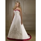 New style Sexy white and red strapless  wedding Dresses Bride Evening prom gown wedding Dress free shipping  NO.