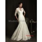 3/4-Length Sleeve V Neckline Chapel  train Wedding Dress