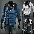 Men's slim FIT IRREGULAR ZIP UP HOODIES JACKETS class service men's cardigan oblique zipper sweatshirt outerwear Free Shipping