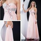 Custom  Sequins Handmade Flowers Embellished Chiffon  Pink Prom Dresses