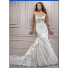Free Shipping Ivory cowl draped neckline crystal beaded Sheath Spaghetti Straps Satin Zipper rhinestone wedding dress