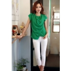 Free shipping women tops and blouses 2013 new fashion korean clothes Slim green chiffon shirt blouse 6124