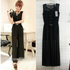 Free shipping women celebrity clothes fashion 2013 european style belt sleeveless chiffon easing piece pants 3237 women's Jumpsuits