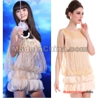 Free shipping women's Tassels 3D stereoscopic chiffon petals sleeveless dress 2014