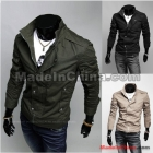 Wholesale -  HOT Men's jacket Slim stand-collar jacket coat men's clothing Black Army Green Khaki 2395