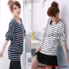 Free Shipping women's fashion Loose striped bat sleeve round neck cotton T-shirt 9039