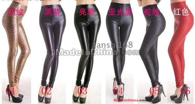 Womens Stretch Black Leather Look Leggings High Waist Pencil Pants Size XS//S//M//L