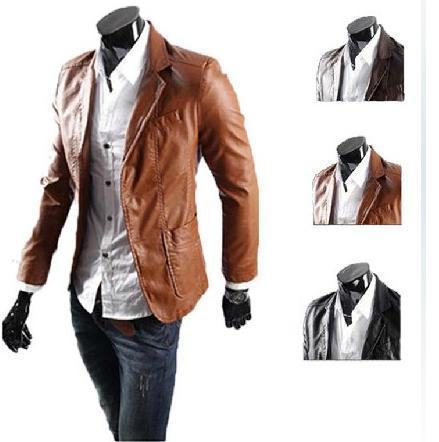 Free Shipping men's classic new slim fit design casual pu leather jacket coat size L XL XXL XXXL XXXXL HH