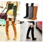 Women's Suede Flat Boots Winter Thigh High Boots /Over The Knee Boots Shoes  n4