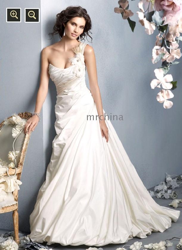 Wedding dress a line one shoulder strap applique for One strap wedding dress