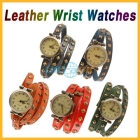 Free shipping Fashion Wrap Around Leather Wrist Watch Roma Retro Watch Lady Watches