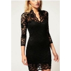 WOMEN FASHION  SLIM V-NECK 3/4 SLEELE DRESS