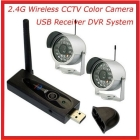 free shipping 2.4G Wireless USB Receiver DVR Home Security CCTV System w/ 2pcs Video Camera s