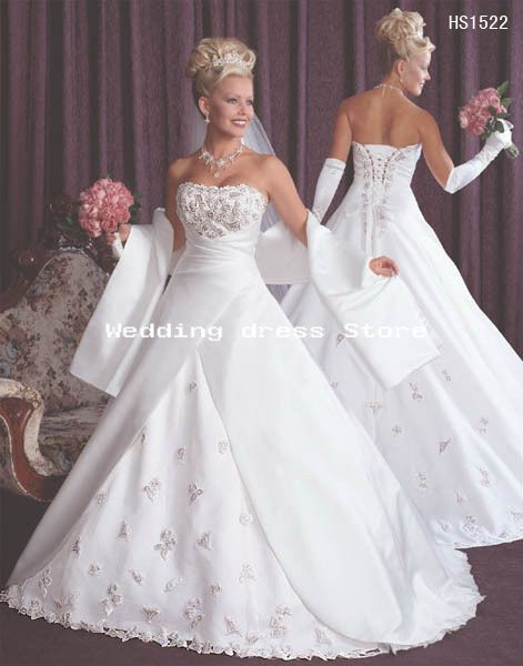 07 wedding dress White ivory embroidery satin gown – Wholesale 07 ...