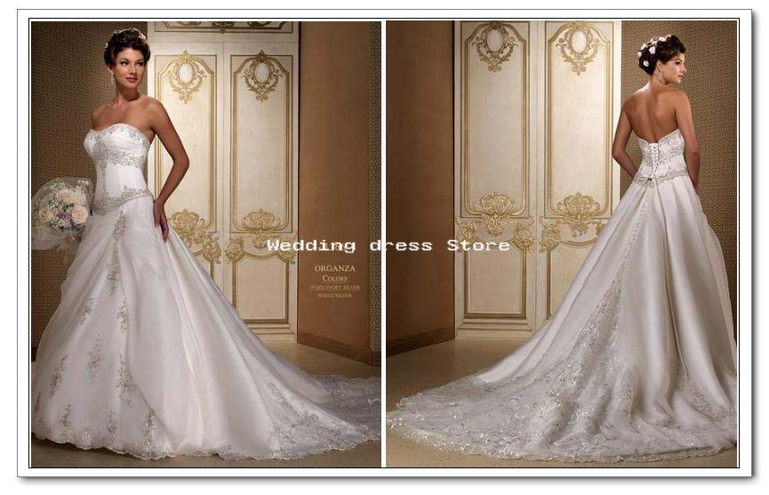 Gold and ivory wedding dress