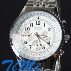 6 Hands White Automatic Mechanical Steel Watch Men