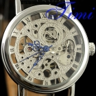 Mens See Through Skeleton Watches Silver & Blue Hands
