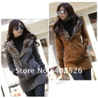 Korea Leopard Fleece Women's Hoodie Coat Sweatshirt Jacket Warm Outerwear S,M,L 3270
