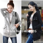 2012 Korea Zip Up Long Top Women's Hoodie Coat Jacket Many Buttons Sweatshirt Outerwear Fleece Black, Gray 3274