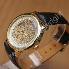 Free Shipping Luxury Mens Auto Watch, Gold Tone Skeleton Leather Men's Watch(A383)