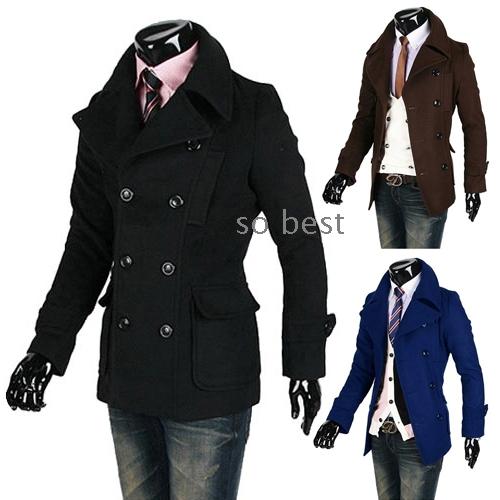 Images of Mens Slim Fit Pea Coat - Reikian