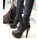 Freeship Punk High heels Ankle Boots Martin boots Studded Platform Lace-up Shoes Black Fashion boots