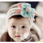 Wholesale Free Shipping 1 Piece New Girl Nice Flower Hairbow Hairband Hair Band Headband Satin Crochet Headband With Flower
