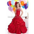Taffeta red satin spaghetti strap beading skirt Flower Girl Dresses ball gown size:2-14years free shipping