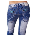 WHOLESALE! FREE SHIPPING SUPER LOWRISE SEXY CRAZY AGE EYES EMBROIDERED BLUE JEANS