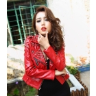 Free Shipping #264 Sexy Lady's Rivets Studded Punk Style Leather Jacket, Motorcycle Jacket in Red