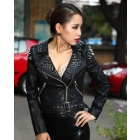 Free Shipping #264 Sexy Lady's Rivets Studded Punk Style Leather Jacket, Motorcycle Jacket in Black