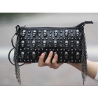 FREE SHIPPING! NON-BRAND GORGEOUS LADY'S PUNK SKULL STUDDED CLUTCH PURSE WITH CHAIN TASSEL IN BLACK