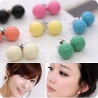 Min.order is $15 (mix order) Fashion Ladies Mix Wholesale Fashion Candy Colored Ball Earring  earring jewelry 65