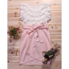 Summer wear new han edition female sweet  temperament bud silk bowknot sleeveless fair maiden dress