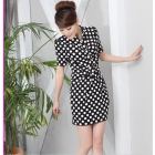 Chun xia hold new big dot bowknot han edition nail bead the waist show thin LiLing bud short-sleeved dress