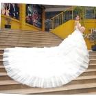 H6208 trailing 2011 beautiful new pearly flashing Bohemian dress large hem