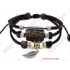 Hot make braided leather bracelet cowhide and hemp ethnic wrap bracelets colored leather bracelets handmade cord bracelets L0062